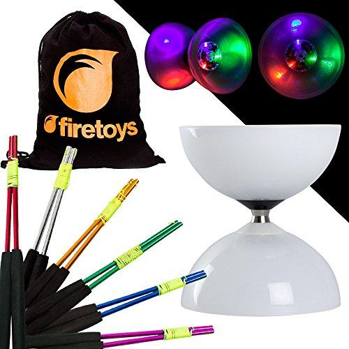 Juggle Dream LED-Diabolo-Set mit farbigen Aluminium-Diablo-Stäbchen und Firetoys Baumwolltasche. Wählen Sie Stickfarbe. Inklusive Batterien, Green Sticks