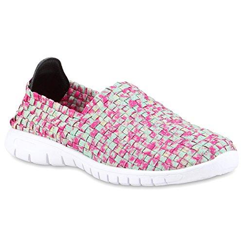 Damen Slip-ons Glitzer Sneakers Helle Sohle Slipper Metallic Green Pink