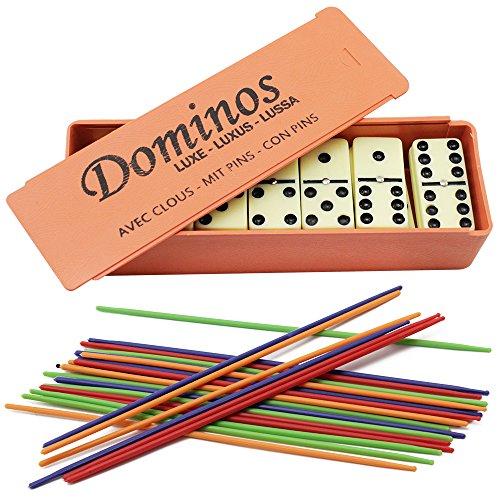 COM-FOUR® Mikado + Domino Spiel Set in Kunststoffbox zum Aufschieben 25 Stäbe & 28 Steine