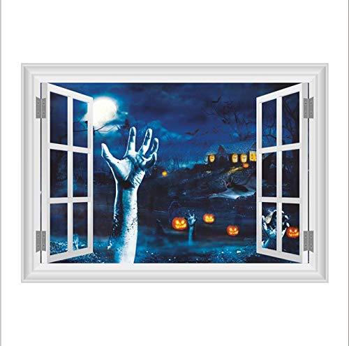 LONGTENGHEIHA Kürbis Laterne Linke Hand Wandaufkleber Halloween Raumdekoration 3D Gefälschte Fenster Home Festival PVC Aufkleber Wandbild Kunst Poster Geschenk