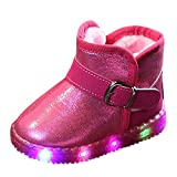 MERICAL Baby Girls Shoes Kids Shoes Children LED Light Up Luminous Sneakers Winter Warm Snow Boot