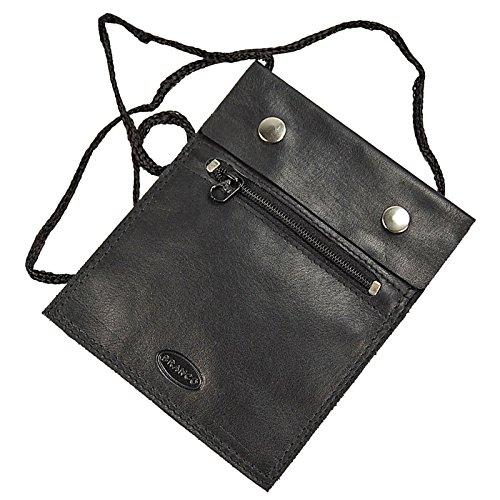 BRANCO sehr flacher Leder Brustbeutel Brusttasche Umhängebeutel Geldbeutel Security Wallet in verschiedenen Farben verfügbar GoBago (schwarz)