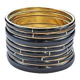 Breites Armreif schwarz - Armreifen Gold farbig - Cooles Armband für sie