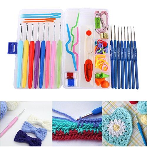 Preisvergleich Produktbild NUOLUX Häkelnadeln,Häkelnadel set, Crochet Kit Häkelnadeln Stricknadeln 16 Stück