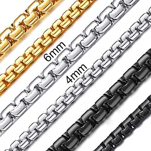 ChainsHouse Schmuckstücke 4mm Breit 55cm Länge Schwarze schöne Halskette für jeden Alltag Coole Halskette mit Geschenke-Box (Halskette-geschenk-boxen)