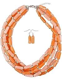 4d199297216 YLiansong Bijoux Fantaisie Collier Fait Main de Perles Multicolores  déclaration Bracelet Boucles d oreilles Ensemble