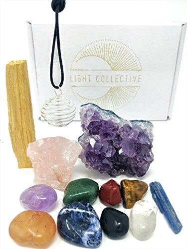 Chakra Crystal Set/11-teilig inkl. Trommelstein Steine, Raw Amethyst und Rosenquarz, für Reiki Healing, Wellness, und Meditation