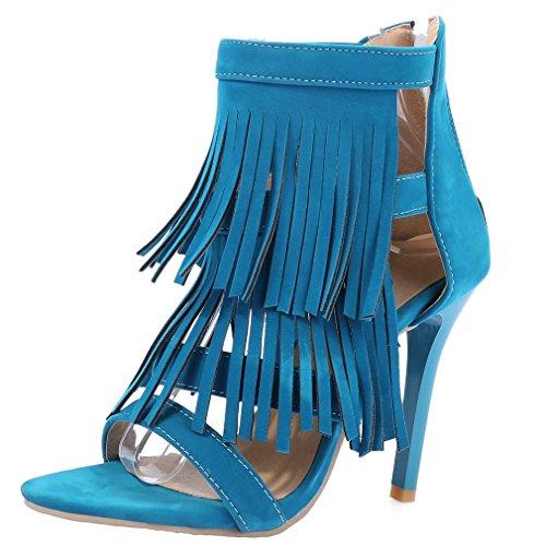 ENMAYER Womens Suede Round Toe Ankle-Sangle Stiletto Talon Haut Sandales Zipper Tassel Party Dress Chaussures Bleu