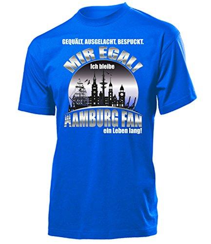 love-all-my-shirts Hamburg Fussball Motive zum auswählen Fanshirt Fan Artikel Männer Herren Tshirt Kapuzen Pullover Hoodie Pulli Tasse Kaffee Becher, T-shirt Blau Leben Lang, XXL