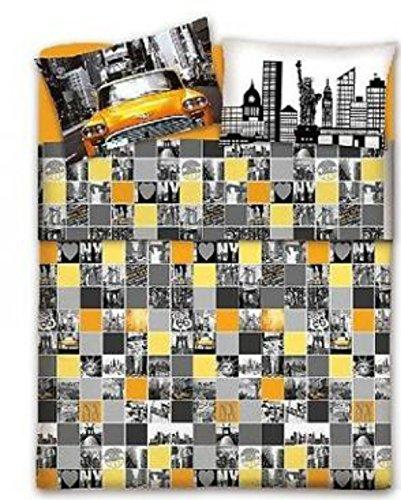 Copripiumino con federe Matrimoniale - New York City Città Americana - Taxy Giallo in cotone Made in Italy (2 piazze) Sacco copripiumini per piumino