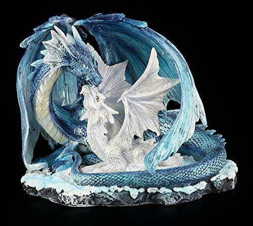 Drachen Figur - Mutter mit Jungem weiß-blau (Drachen Figuren)
