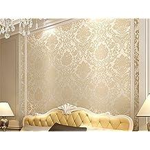 ufengke Damasco Europeo Extragrueso 3D En Relieve No Tejido Papel Pintado Mural Para Dormitorio Sala de Estar