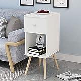 YNN Sofa Side Cabinet Kleine Couchtisch Bett Tisch Schlafzimmer Eckschrank Beistelltisch (Farbe : Warmweiß)
