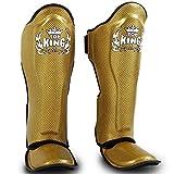 Top King Boxing Schienbeinschoner, Carbon, Gold-schwarz Größe M