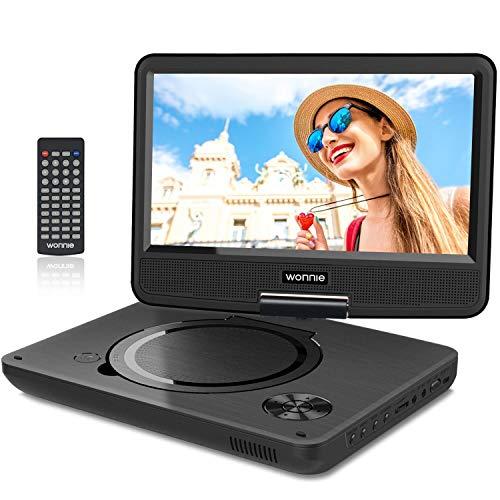 """WONNIE 2019 Upgrade 11.5"""" Lecteur DVD Portable avec écran Rotatif à 270°,Carte SD et Prise USB avec Charge directe Formats/RMVB/AVI / MP3 / JPEG, Parfait pour Enfants (Noir)"""