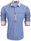 Burlady Trachtenhemd Herren Hemd Kariert Cargohemd Baumwolle Freizeit Hemden Super Qualität