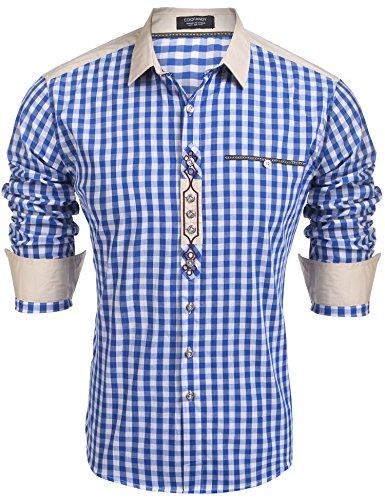 Burlady Trachtenhemd Herren Hemd Kariert Oktoberfest Cargohemd Baumwolle Freizeit Hemden Super Qualität- Gr. M, Blau