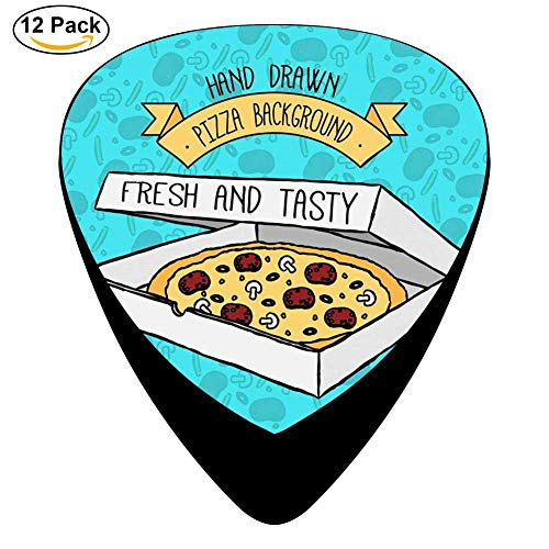 Hand Drawn Pizza Box Celluloid Electric Guitar Picks 12-pack Plectrums For Bass Music Tool -