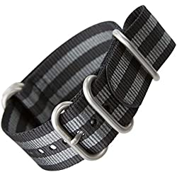 Klassisches Bond Uhrenarmband von ZULUDIVER® aus Nylon, ZULU, Schwarz/Grau gestreift, Schließe im seidenmatten Finish, 22mm
