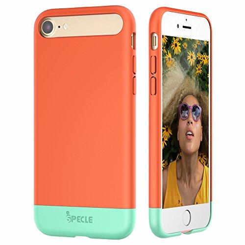 iSPECLE iPhone 7 Hülle 4.7 Inch, abziehbare und partial gleitende iPhone 7 Handyhülle Case mit weicher Innenseite und harte PC-Schale sowie abgehobene Lippen – Sliding Stil (in korallenrot)