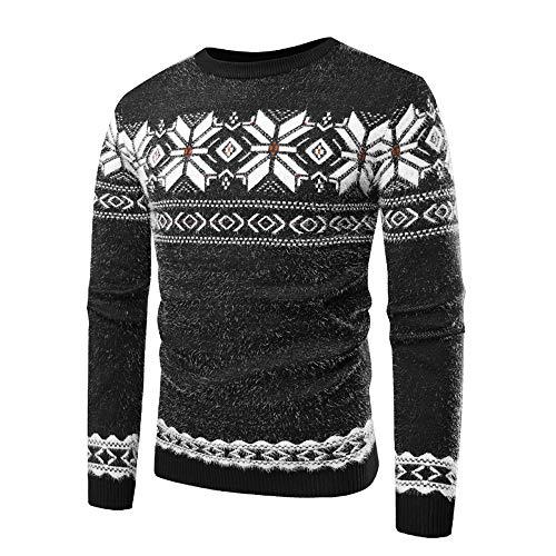 NPRADLA 2018 Bluse Herren Winter Warm Slim Fit O Ausschnitt Herbst Langarm Gedrucked Pullover Strickpullover Top T ()