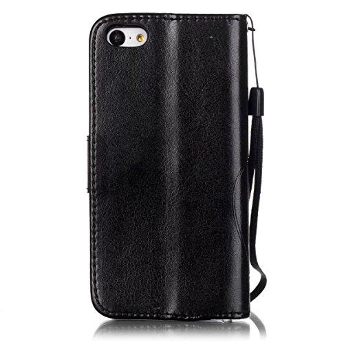 iPhone Case Cover Premium PU-lederner Fall-Abdeckungs-Folio-Schlag-Standplatz-Fall-prägenblumen-Kasten für iPhone 5C ( Color : Blue , Size : IPhone 5C ) Black