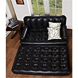 #6: YFXOHAR 5In1 Sofa Bed-Double Air Lounge with Electric Pump PVC 3 Seater Inflatable Sofa (Color - Black)