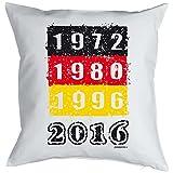 Kissen mit Fußballmotiv - Europameisterschaft - EM - 1972 - 2016 - Nationalmannschaft - Für alle Fußballfans - weiss