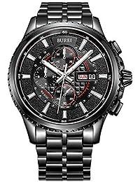Burei® Luminous Tag und Datum Chronograph für Herren mit Armband schwarz, schwarze Lünette Schwarz Zifferblatt