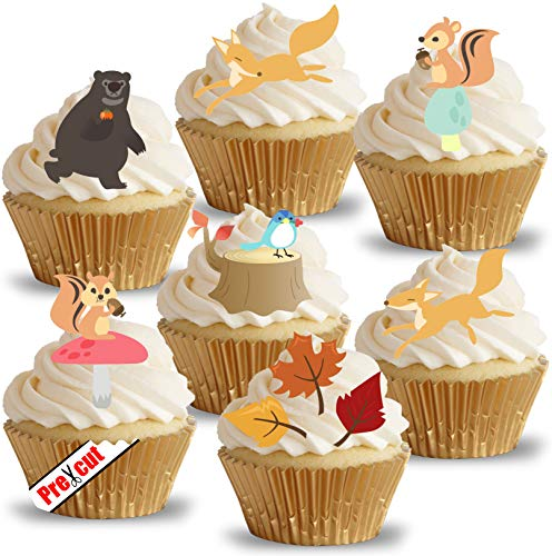 Anglesit Animals Wald Tiere & Blätter essbarem Reispapier/Wafer Papier Tasse Kuchen Topper Hochzeit Herbst Fall Party Geburtstag Dekoration
