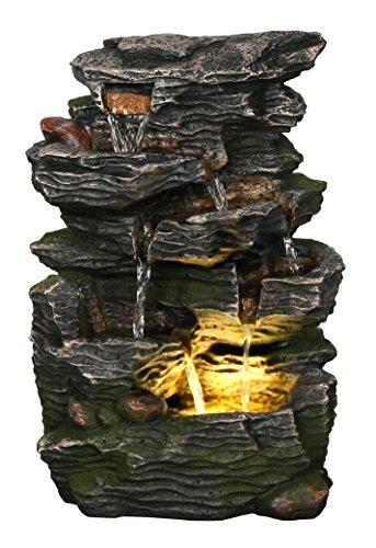 Harmony Fountains Stein Wave Wasserfall 35,6cm Füllfederhalter w/LED-Licht: Kleine Indoor-/Outdoor Wasser Feature für Tischplatten, Gärten & Terrassen. Handverarbeitetes Design. hf-r27-14lt -