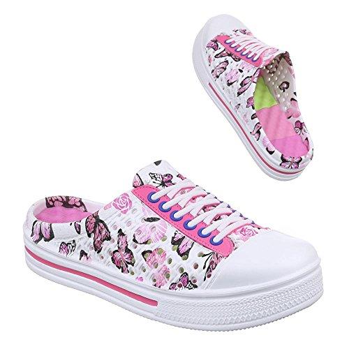 Damen Schuhe, XX-806, SANDALEN CLOGS PANTOLETTEN Weiß Pink