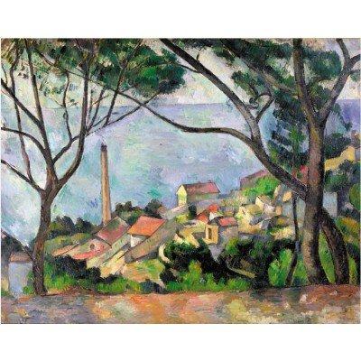 Puzzle 50 pièces - Puzzle en bois découpé à la main - Cézanne Paul : Vue sur l'Estaque