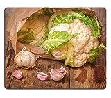 Msd Natural rubber Gaming Mousepad Image ID: 35121329Romanesco Broccoli con Cavolfiore e aglio in un sacchetto di carta su un tavolo in legno