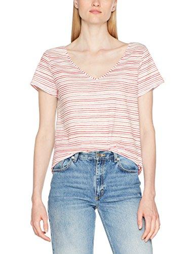 edc by ESPRIT Damen T-Shirt 067CC1K002, Rot (Orange Red 635), 36 (Herstellergröße: S) (Rot Orange Shirt)