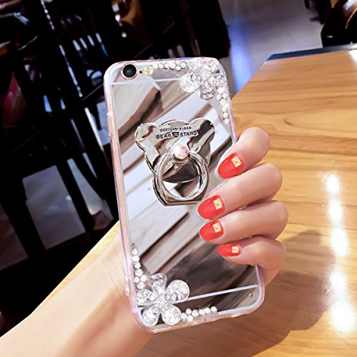 Coque iPhone 6 Plus Miroir, iPhone 6S Plus Coque Brillante, SainCat Ultra Slim TPU Silicone Case pour iPhone 6/6S Plus, Bling Bling Glitter Strass Diamant Anti-Scratch Soft Gel Silicone 3D Transparent Argent #