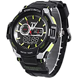 Leopard Shop TVG 801 Men Dual Movt Quartz Digital Watch Water Resistance Chronograph Luminous LED Display Wristwatch Green