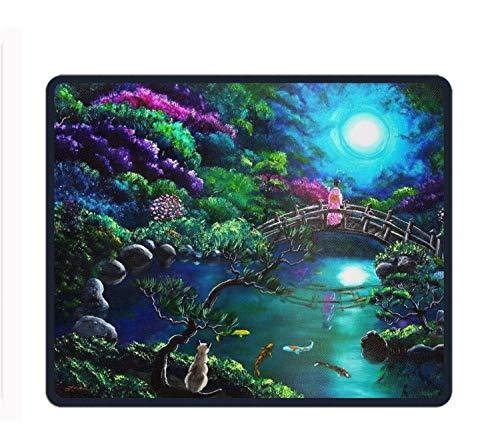 Artistic Bridges Flower Geisha Asian Moon Colorful Gaming Mouse Pad - 11.8