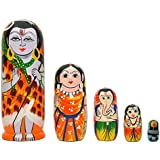 Craft Hand Nesting Wooden Hand Painted Lord Shiva Family (Shiv,Parvati, Ganesh & Kartikey) Indian God's Idol With Shivling- Set Of 5 Piece