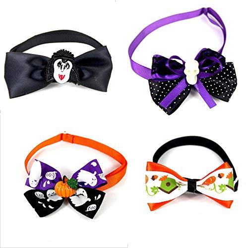 Was 2 1 Kostüm Katze Hat - YanYu 4 Teile/Paket Halloween Fliege 4 Farben Feste Hundekrawatten Einstellbare Hundehalsbänder Hundepflege Zubehör für Haustier Kleine Hunde Katzen Fliege Krawatte