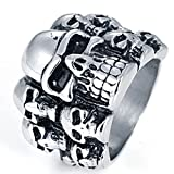 Bishilin Titan Männer Ring Titanring Schädel Totenkopf Gothic Herrenring Freundschaftsringe Größe 62 (19.7)