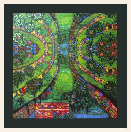 Hundertwasser Poster Kunstdruck Grüne Stadt- Green town mit Holz Rahmen in Ahorn weiss lasiert -
