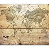 murando - Fototapete selbstklebend 98x70 cm decor Tapeten Wandtapete klebend Klebefolie Dekofolie Tapetenfolie - Weltkarte Karte Welt braun k-A-0218-a-a