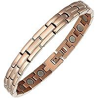 Damen Edelstahl Roségold Magnet Armband 21 cm Armband für Frauen Arthritis Schmerzlinderung mit Fold Over Verschlüsse preisvergleich bei billige-tabletten.eu
