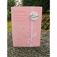 Einladung Einladungskarte Kommunion Konfirmation Fisch silber rosa rose