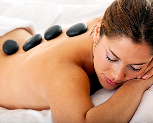 Purovi Spa Hot Stone Massage Set – 20 Natursteine im Samtbeutel - 3