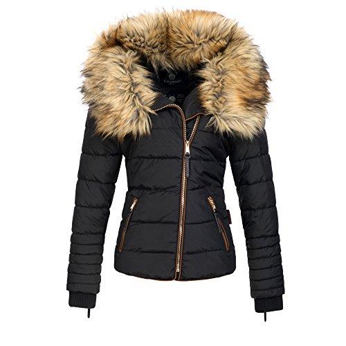 Navahoo AZU Damen Winter Jacke Parka Steppjacke großer Kunst-Fellkragen XS-XL, Größe:L;Farbe:Schwarz Große Jacken