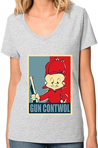 elmer-fudd-gun-contwol-poster-funny-womens-v-neck-t-shirt-xx-large