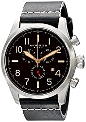 Akribos XXIV Mens AK705SSB Ultimate Stainless Steel Watch with Black Leather Band