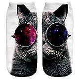 Ferocity Lustige Socken Sneaker Halbsocken Strümpfe Sportsocken Füßlinge mit Motiv 3D Galaxy Sunglasses Cat Big [001]